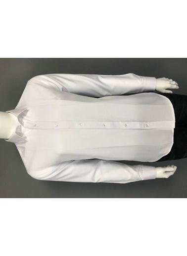 Abbate Kolay Ütülenır Klasık Yaka Slım Fıt Düz Gabardın Gömlek Beyaz